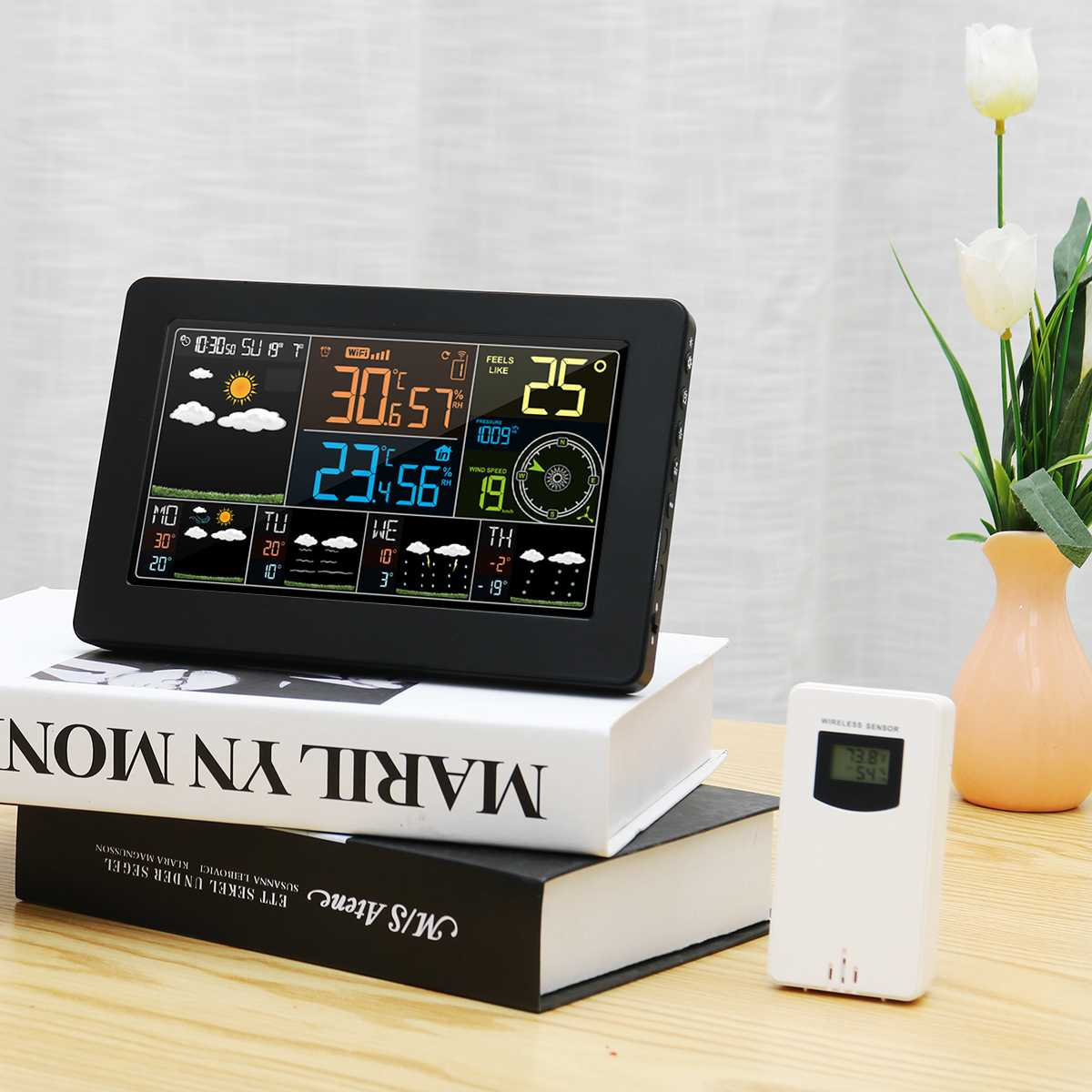 LED Wifi App Weather Station Thermometer Barometer Alarm Clock Wireless Sensor 4 Levels Backlight Wind Frost Warning Function image