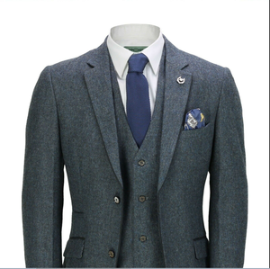 Image 4 - 2020 Mens Suits Mens Wool 3 Pieces Two Button Tweed Suit Herringbone Check Retro Peaky Blinders Tailored Fit NEW