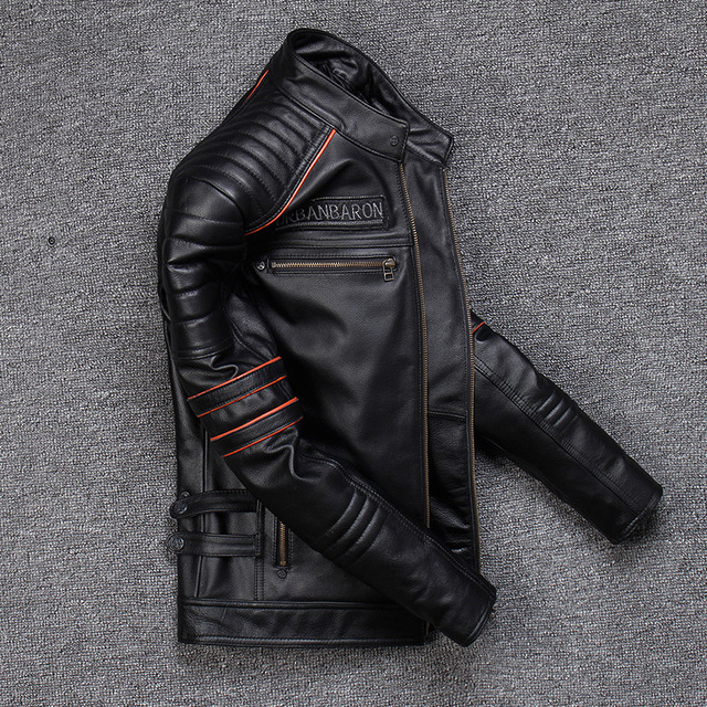 Spring Autumn Genuine Leather Jacket Men Embroidered Skull Casual Motorcycle Jacket Chaquetas Hombre Clothes Korean 2021 WPY2482 4
