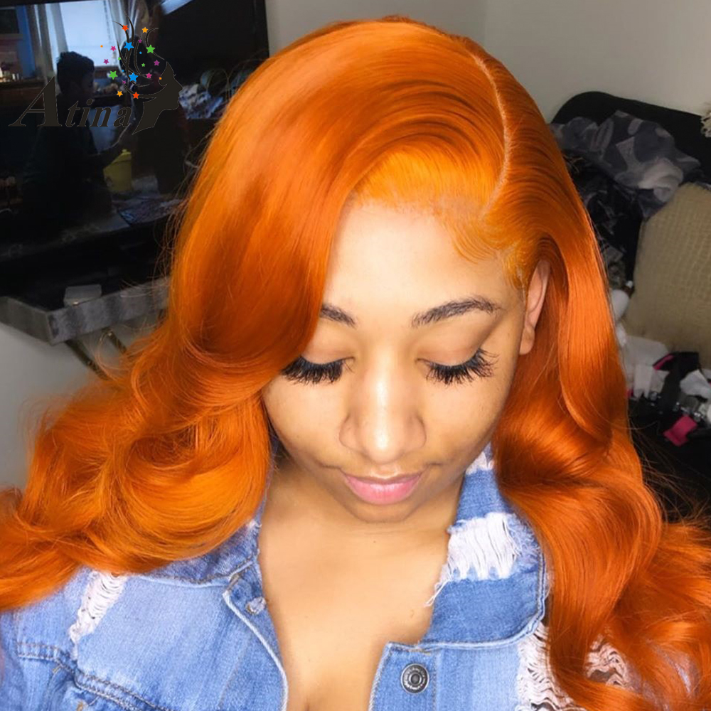 Ginger Orange Colored Human Hair Lace Front Wigs For Black Women 13x6 Side Part Wavy Lace Frontal Wig Brazilian Remy  PrePlucked