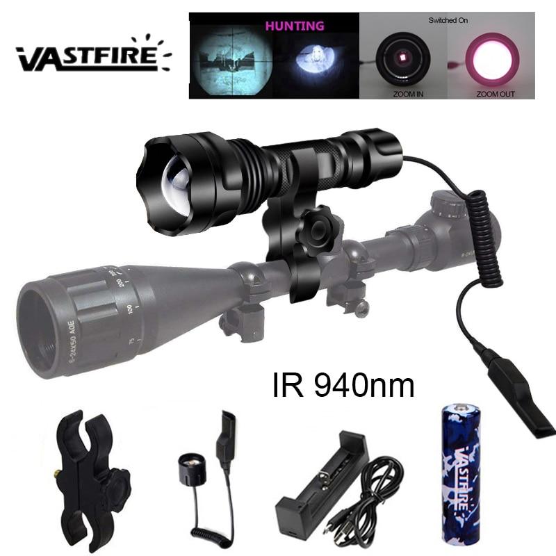 led tactical caca lanterna zoomable ir 501b 850 940nm visao noturna arma luz 18650 carregador usb