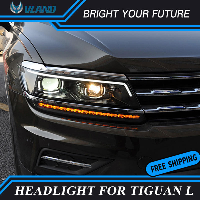 Auto Headlights assembly For Volkswagen Tiguan L 2017 2018 Bi-xenon Lens Projector LED DRL Lens Angel eye Low Beam image