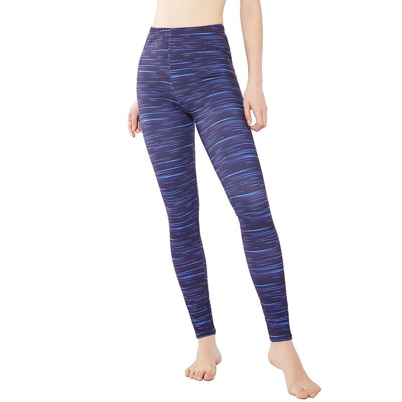 9097 New Blue Color Horizontal Lines Yoga Pants Women's Athletic Pants Tight Leggings Large Size