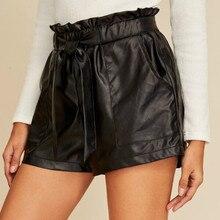 Женские шорты из искусственной кожи с высокой талией, новинка, модные шорты с поясом в британском стиле