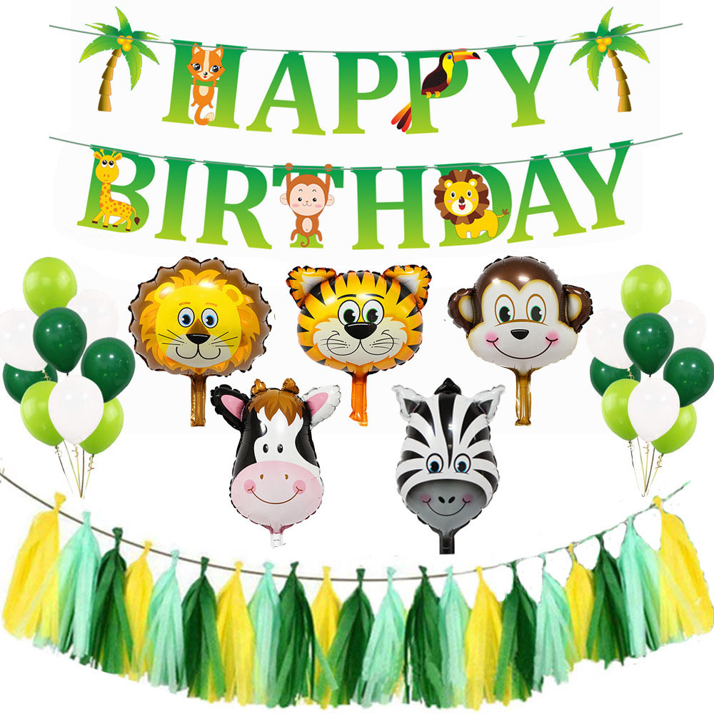 Jungle Party Safari Party Decor Animal Foil Balloons Zoo Animal Wild One Birthday Party Backdrop Decoration Kids Green Balloons