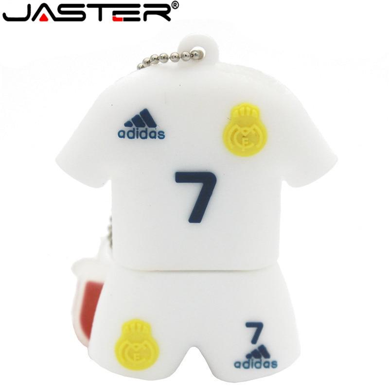 JASTER C Ronaldo Team Shirt Usb 2.0 Pendriver Polo Shirt Memory Disk Messi 10 Pendrive8GB 16GB 32GB Memory Stick
