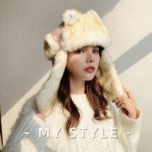Fur Hat Russian Ushanka Earflap-Cap Bomber-Hat Snow Winter Women Cute Warm Thick Windproof