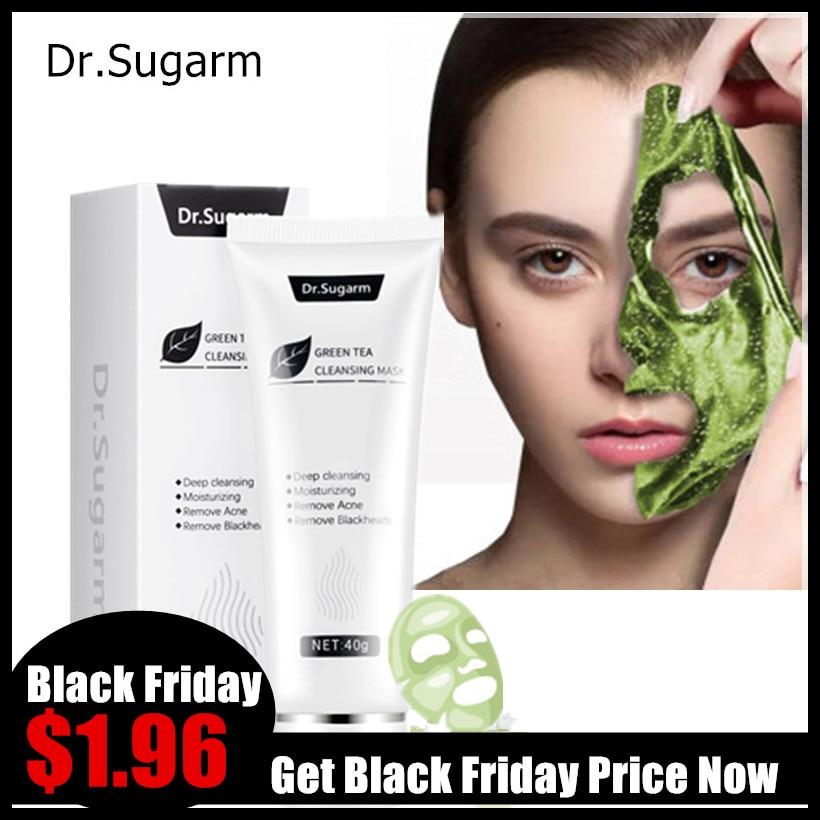 40g Dr.Sugarm Green Tea Blackhead Mask Face Skin Care Remove Acne Nose Deep Cleansing Pore Strip Moisturizing Peel Black Mask