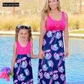 Nacanpiee mãe e me vestidos combinando roupas de família roupas de verão para as mulheres família combinando mãe e filha vestidos