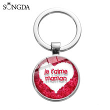 SONGDA Creative I Love Mom Dad Round Trinket Keychain for Family Member Super Mama Series Silver Keyring Jewelry for Mothers Day(China)