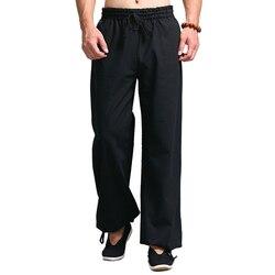 Повседневные штаны-шаровары, Мужские штаны-джоггеры, китайский традиционный костюм Харадзюку кунг-фу Тан, униформа Тай-Чи, хлопковые льняны...