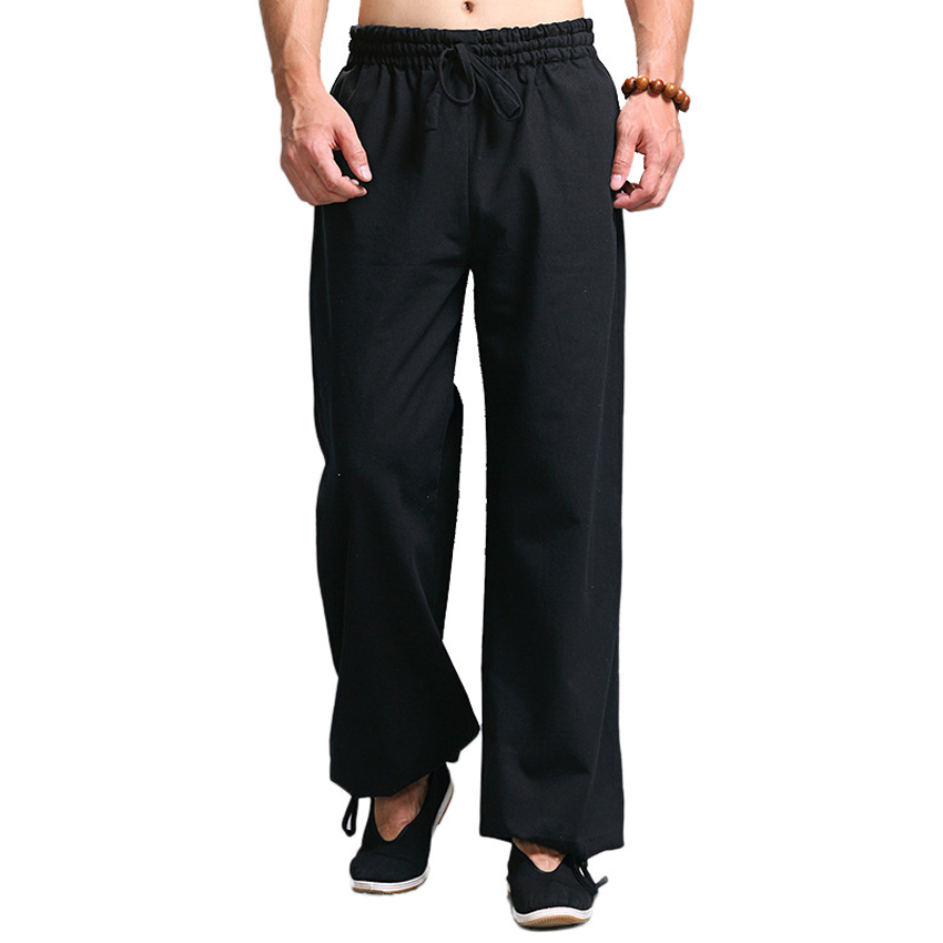 Casual Harem Pants Men Jogger Pants Chinese Traditional Harajuku Kung Fu Tang Suit Tai Chi Uniform Cotton Linen Trousers