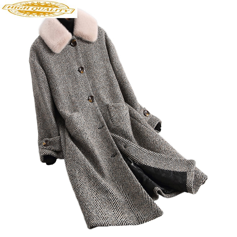 Tweed Wool Real Fur Coat Detachable Natural Lamb Fur Liner 2020 Long Winter Jacket Women Mink Fur Collar 18122 WYQ1933