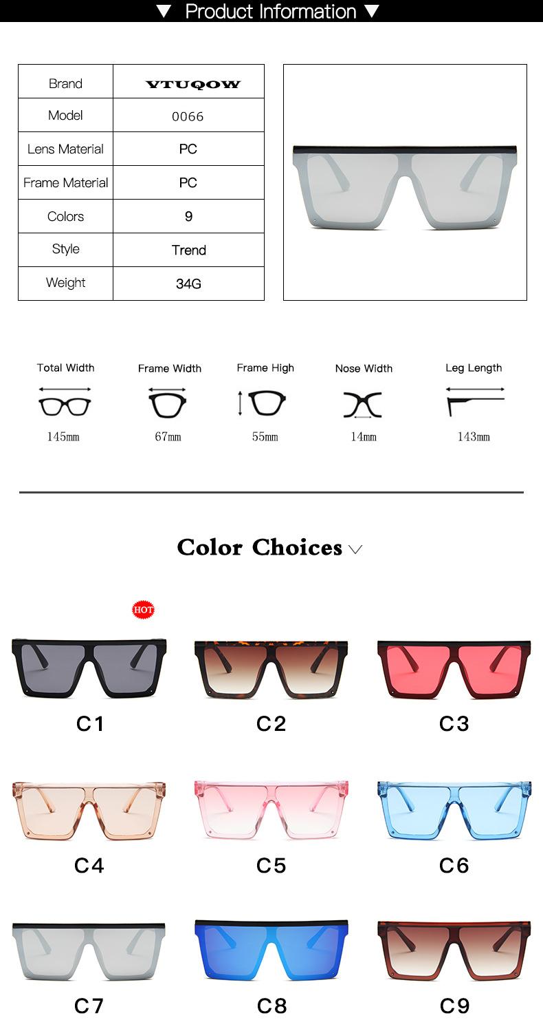Oversized Square Sunglasses Women 2019 Luxury Brand Fashion Flat Top Red Black Clear Lens One Piece Men Gafas Shade Mirror UV400 (5)