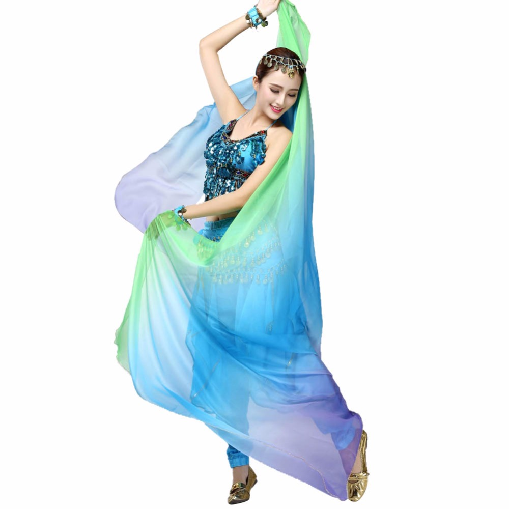 Gradient Veil Shawl Face Shawl Wrap  Scarf Women Dance Belly Bollywood Costume Silk-like