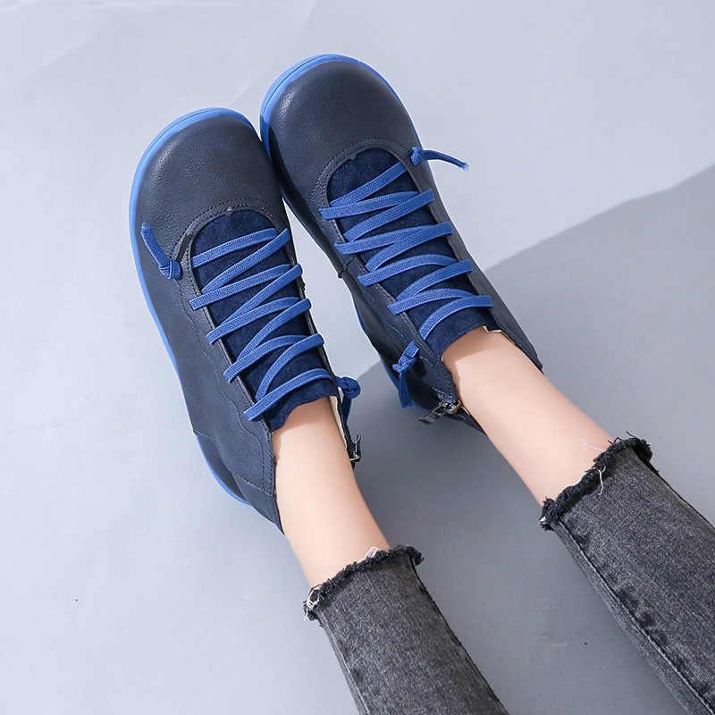 2020 damskie buty kostki Socofy PU skóra zasznurować botki kobieta duży rozmiar pasek krzyżowy mieszkania buty zimowe wiosna kobiety buty krótkie