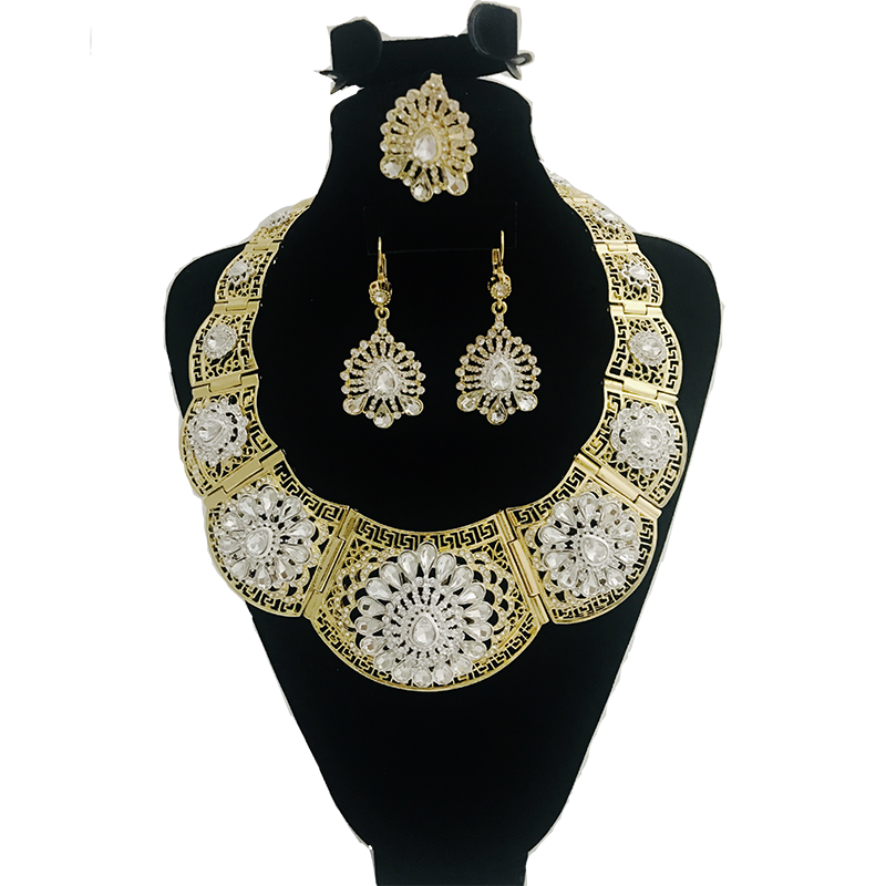 Classic selling good wedding Party jewelry set gold color crystal necklace for women Arab Muslim dress jewelry three-piece set Women Women's Accessories f02846ee759da375bf7e2a: glod mix|gold white