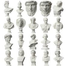Mini estatua de yeso de 7CM para celebridades, busto de yeso, retratos, mitología griega, práctica de dibujo, adorno para el hogar de escritorio