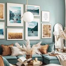 Горы Озеро Лодка Пшеница цитаты пейзаж стены искусства холст