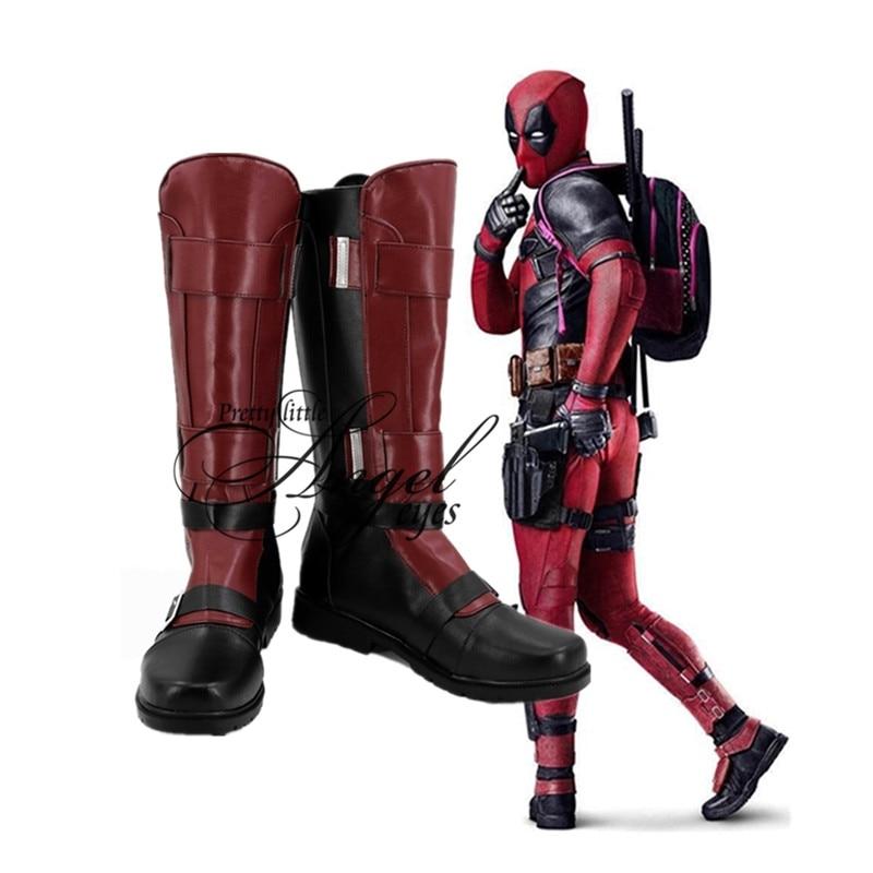 Marvel Super Hero Wade Winston Wilson Deadpool Cosplay Party Shoes Custom Made