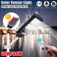 90W 180LED Solar Street Light Radar Motion Sensor Garage Light Waterproof Wall Lamp With Remote Control For Garden Park Pathway