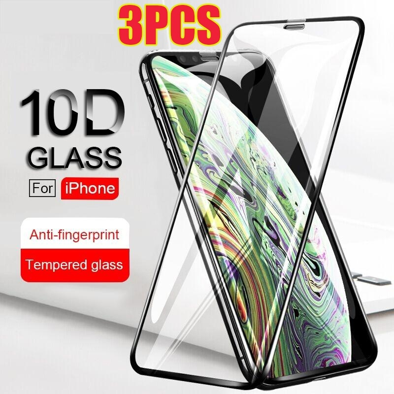 3PCS iPhone 10D Curved Full Cover Protective Glass Film For iPhone Xs XR XS Max X 8 7 6 6s Plus