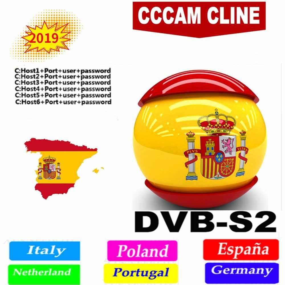 DVB-S2 テレビ衛星放送受信機フル HD CCcam クライン 1 年ヨーロッパ 6 ライン IPTV スペインポルトガル Ccam サーバー GTmedia 高速と安定した v7s