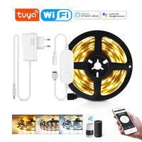 Tira LED inteligente Tuya DC12V, WiFi, CCT, Control por aplicación de voz, lámpara de retroiluminación regulable de 5M, cinta Compatible con Alexa / Echo / Google Home