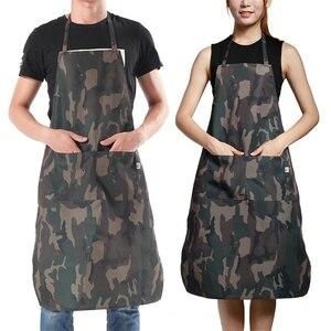 Камуфляжная Униформа шеф-повара, фартук, джинсовая, износостойкая, для работы, одежда для женщин и мужчин, для кухни, ресторана, еды