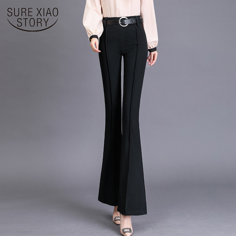 Ankle-length Pants Trousers Women Flare Pants Autumn Casual Pants With Belt Solid Black Skinny Feminine Trousers Fashion 6852 50