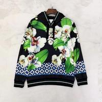 Europe&America Men/women's floral print hooded sweatshirts Chic women's loose high quality hoodies B097