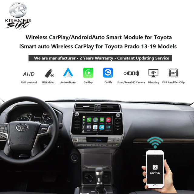Wireless CarPlay Android Auto for Toyota Landcruiser iSmart Auto Wireless Android Auto for Prado 13-20 Models 1