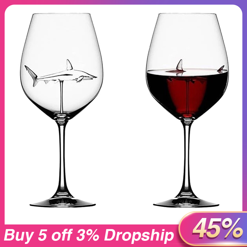 Special Shark Glass Metal Red Wine Glass Goblet Crystal Cup Xmas Gift For Party