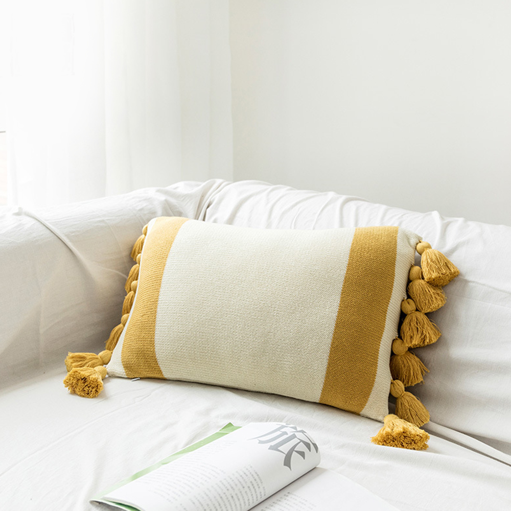 "Modern Aztec Geometric Velvet Pillow Case Tassels Decorative Cushion Cover 18/"""