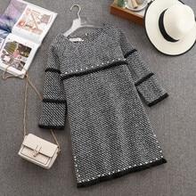 Mini Dress Bead Tweed Spring O-Neck Women Autumn Female Tassel Hit Woolen-Blend In-Stock