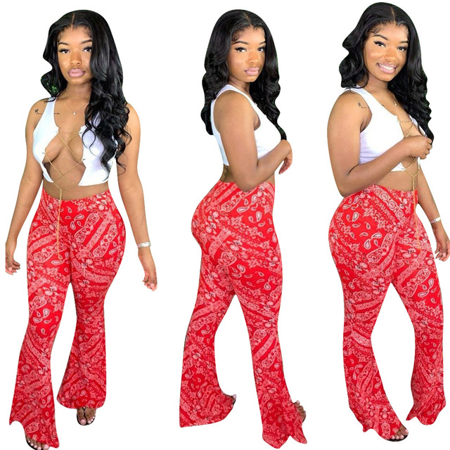 Adogirl S-2XL Women Casual Bandana Print Flare Pants 2020 New Fashion Sexy Foot Cut Bell Bottomed Trousers Night Club Outfits 3