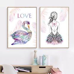 Красочные Лебедь Бабочка девушка перо юбка стены искусства холст живопись плакаты на скандинавскую тему и принты настенные картины для