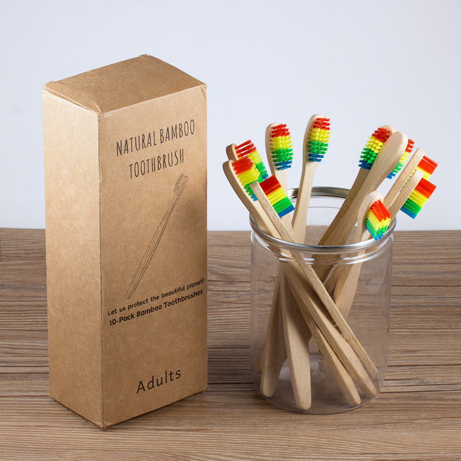 10pcs/box Wooden <font><b>Toothbrush</b></font> with Soft Bristle <font><b>Bamboo</b></font> Hanndle Individual <font><b>Packing</b></font> Portable Vegan <font><b>Toothbrush</b></font> for Travel Adult & Kid image