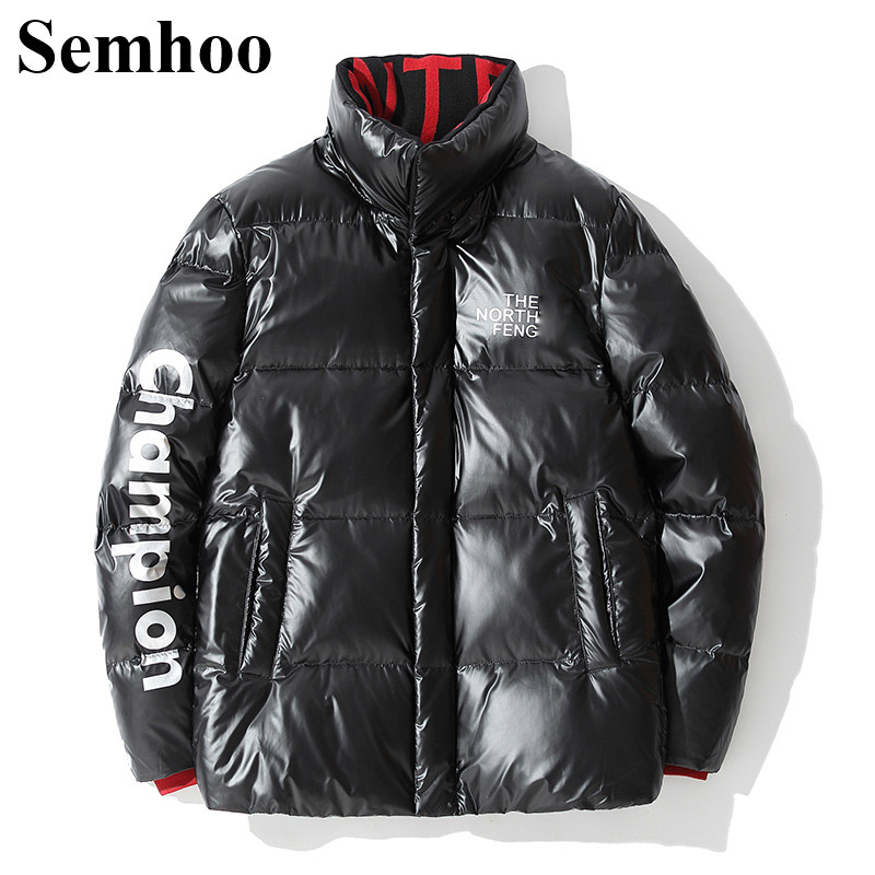 Men's Winter Down Jackets Casual Bright Surface Thick Warm Simple Short 90% White Duck Down Jacket Men Fashion Print Mens
