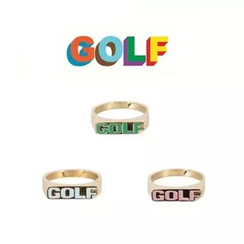 Золотые кольца Golf Wang без шнурков, популярный логотип в стиле Хай-стрит, кольца в стиле хип-хоп, Тайлер, аксессуары для гольфа для мужчин и жен...