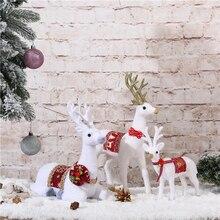 Рождественский Белый олень постоянного имитация белого цвета с рисунком рождественского оленя для белый Лось смолы свадебный Декор дети год игрушка