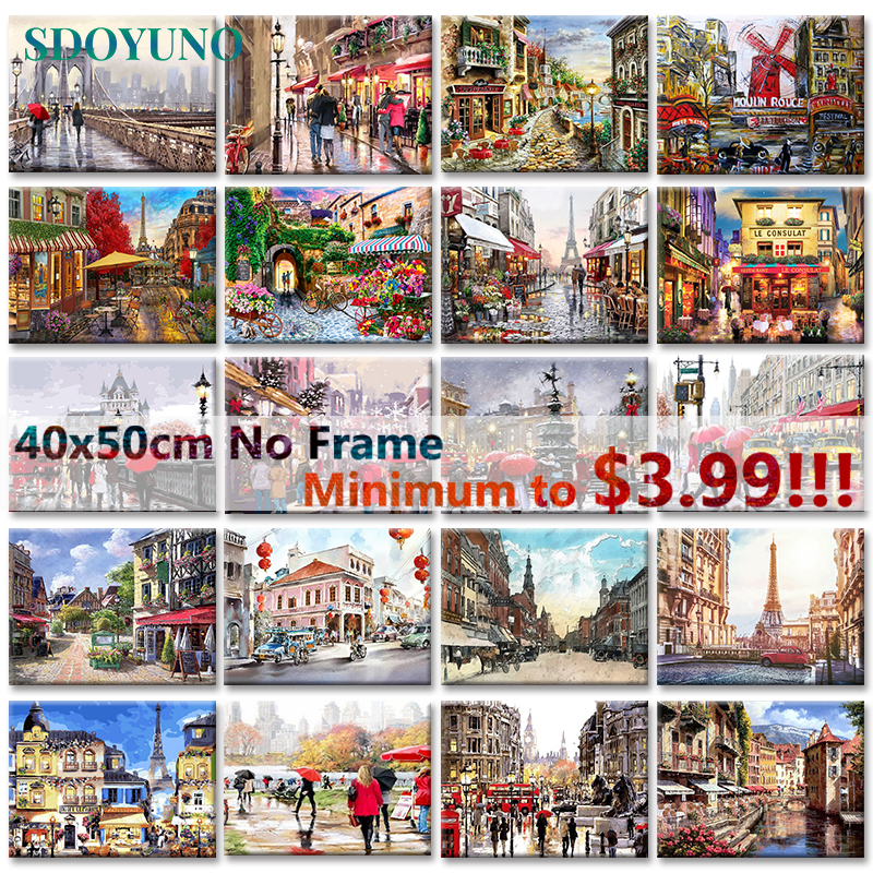 SDOYUNO 40x50cm Painting By Numbers For Adults Paris Landscape DIY Pictures By Numbers Wall Art Frameless Digital Painting