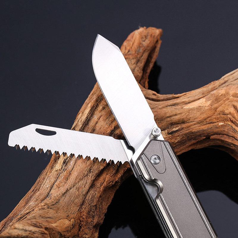 SANRENMU 7117 Multi Function Pocket EDC Folding Knife With Wood Saw Belt Cutter Glass Breaker For Emergency Survival Camping