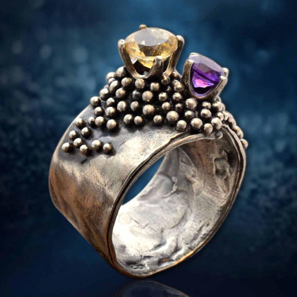 6-10 joyería de boda redonda Retro regalos decorativos circonio fiesta Metal citrino amatista aniversario antiguo mujer anillo recuerdo