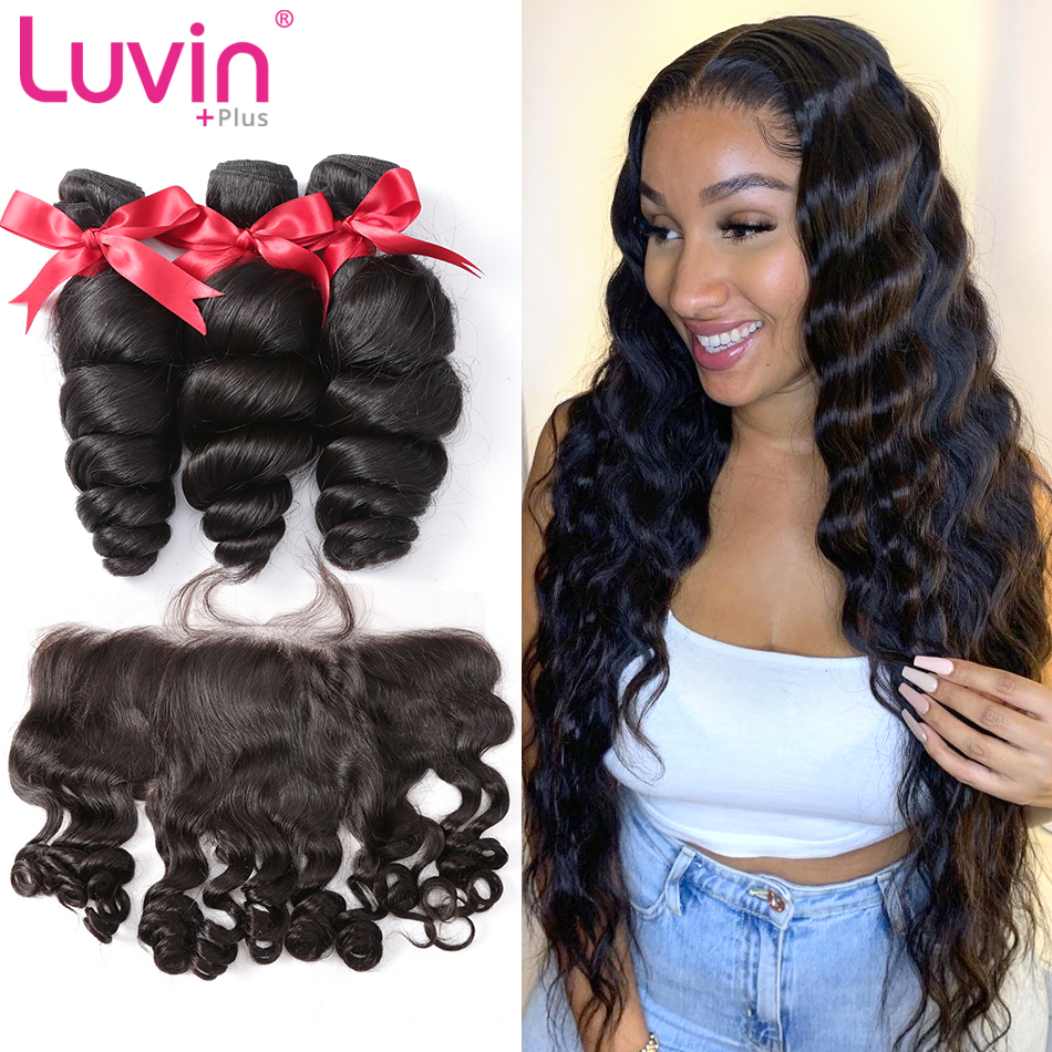 Luvin Hair Loose Wave 10-26  Inch Bundles Brazilian Remy Hair  Human Hair Weaves 3 Bundles With 13x4 Lace Closure Frontal