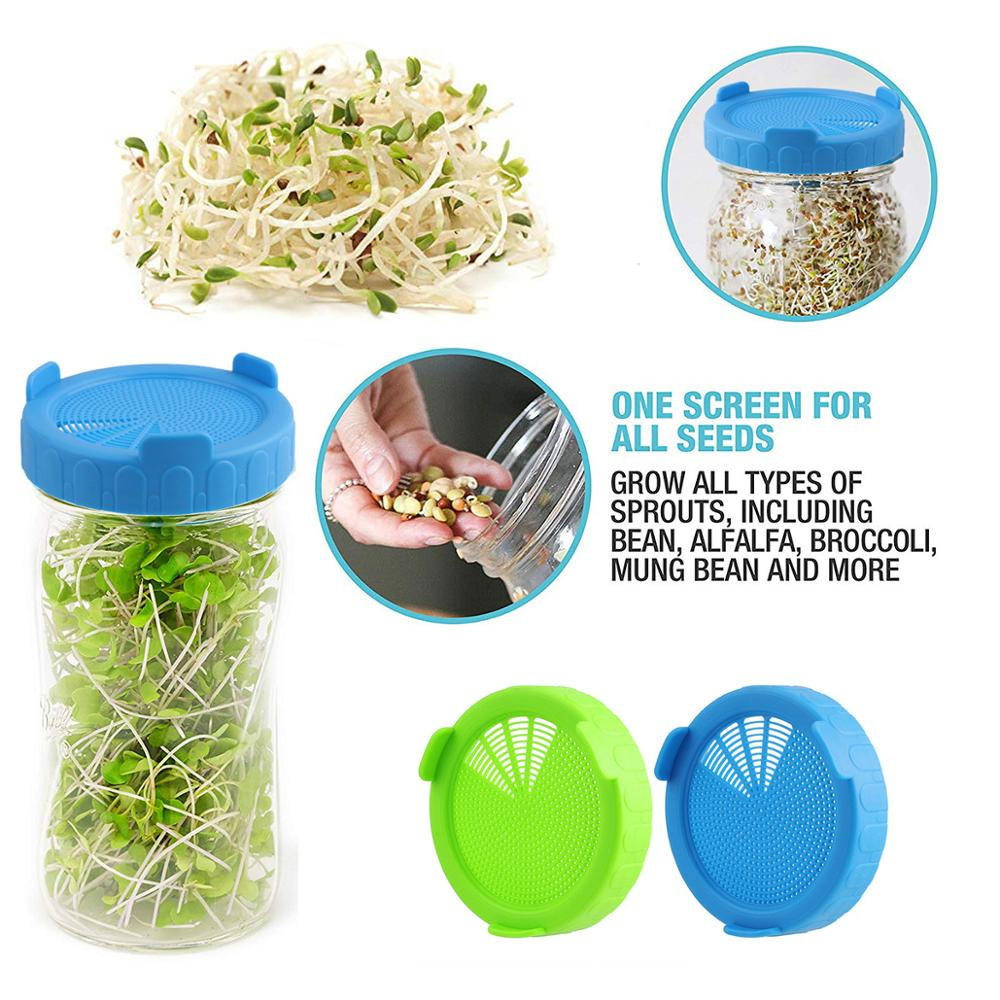 4 Plastic Screen Sprouting Strainer Lid Screw Cap Kit for Wide Mouth Mason Jar