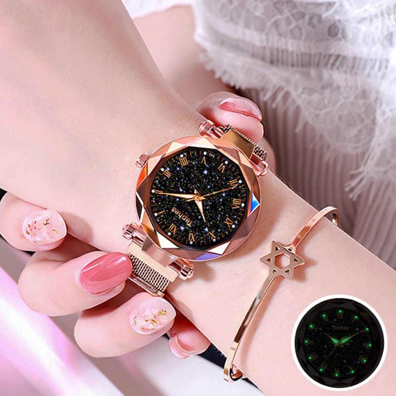2019 星空磁気女性の腕時計夜光レディース腕時計のための高級防水女性の腕時計レロジオ feminino リロイ Mujer