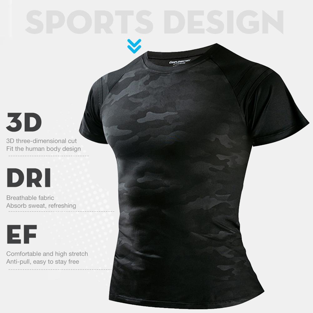 Men's Quick-drying Running Training Short-sleeved Fitness T-shirt Black Camouflage Cold Fabric Sports Breathable T-shirt Men's 5