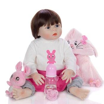 "DollMai Reborn baby dolls 23"" 57cm real silicone vinyl body dolls with pink rabbit clothing reborn toddler girl dolls gift"