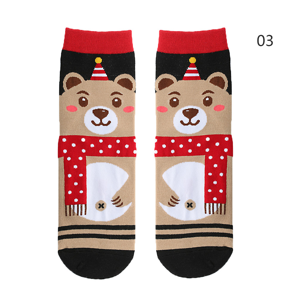Ha7106e9f70cc458abb4f3f5c443963b7I - 1pair Fashion Christmas Socks Women Cartoon Funny Cute Winter Female & Hosiery Cotton Square Foot Personality Socks Harajuku